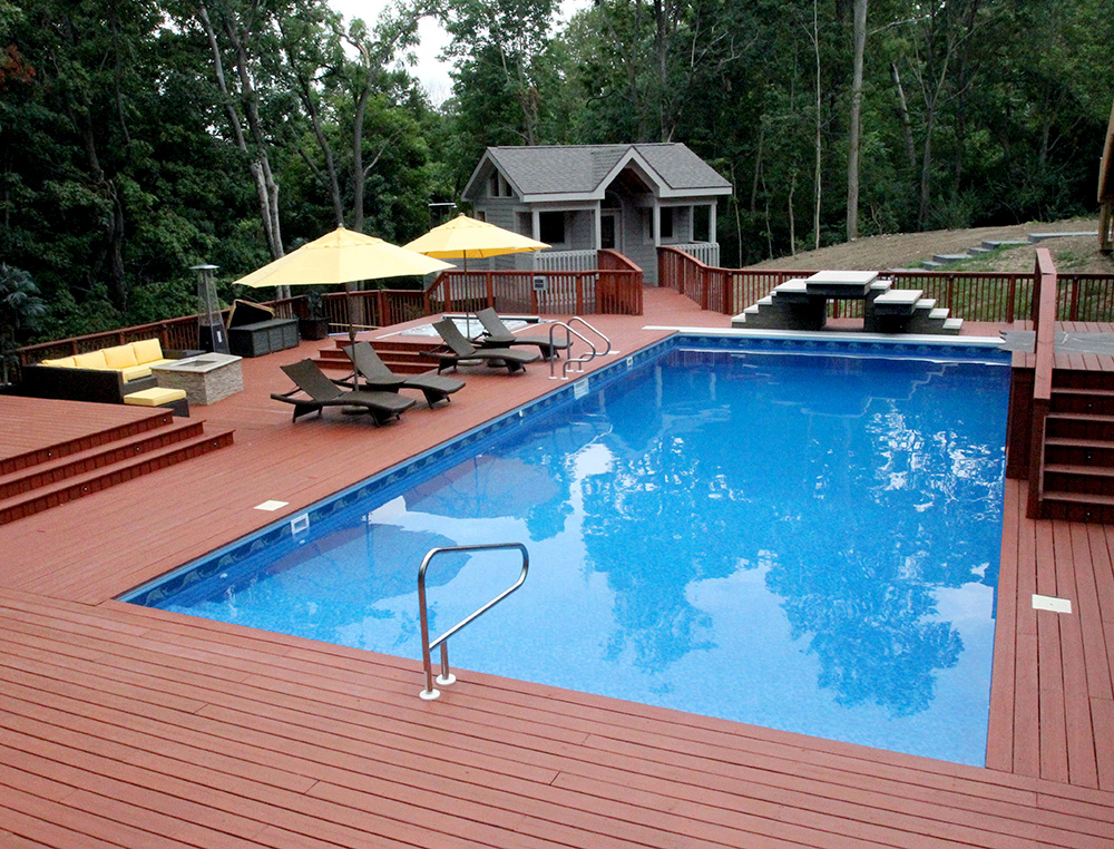 In-ground pool with deck