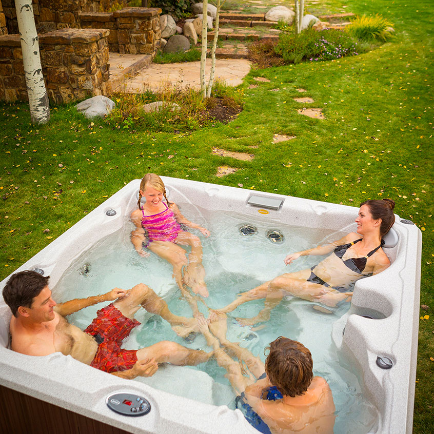 A hot tub from Knickerbocker Pools and Spas is a great way to relax.